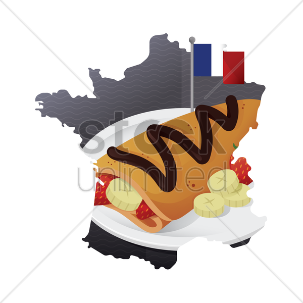 crepe in a plate vector graphic