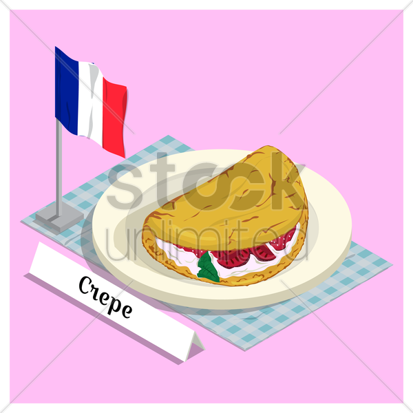 crepe with france flag vector graphic