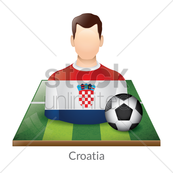 croatia player with soccer ball on field vector graphic