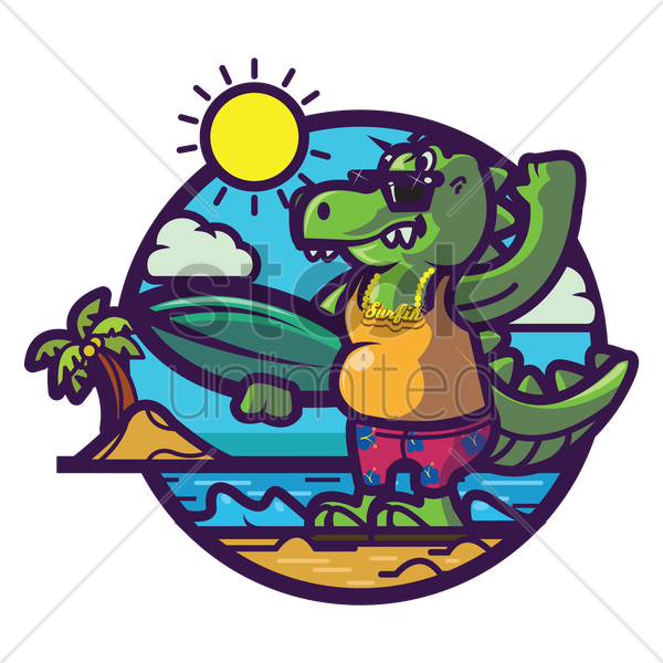 crocodile chilling at beach vector graphic