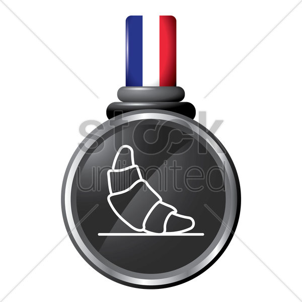 croissant in a medal vector graphic