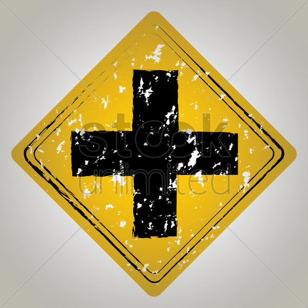 cross road ahead sign vector graphic