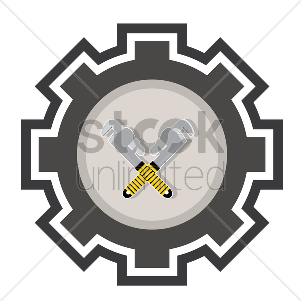 crossed pipe wrenches vector graphic
