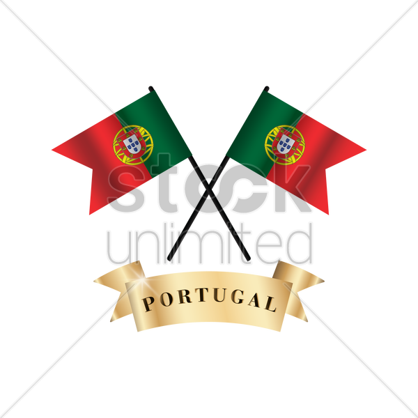crossed portugal flags vector graphic