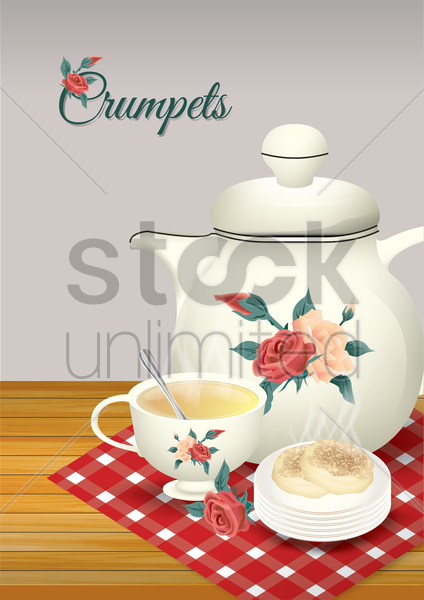 crumpets and tea vector graphic