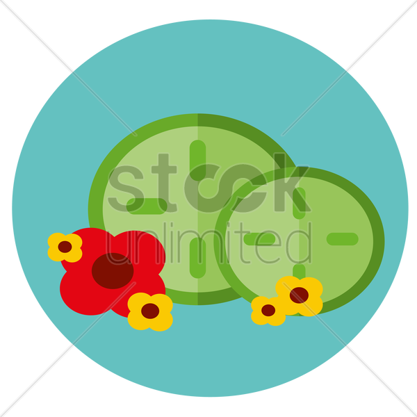 Free cucumbers and flowers vector graphic
