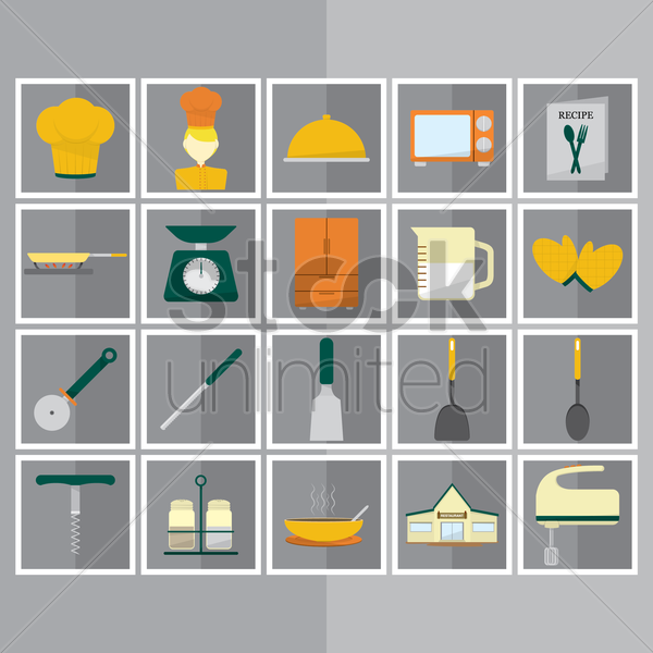 culinary and kitchen utensils icons vector graphic