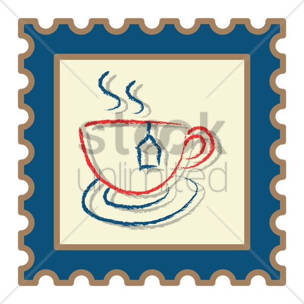 cup of tea with tea bag vector graphic