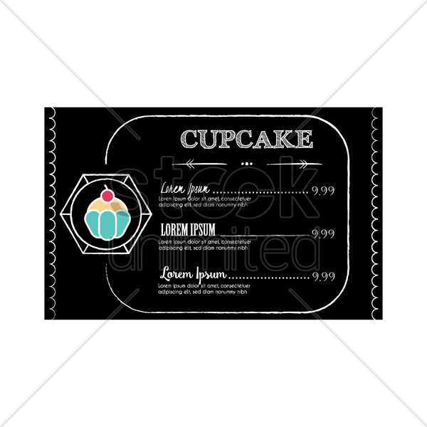 cupcake menu design vector graphic