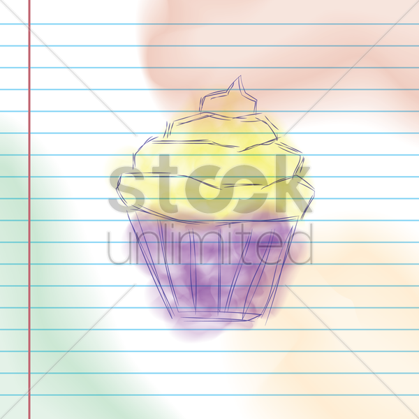 cupcake sketch vector graphic