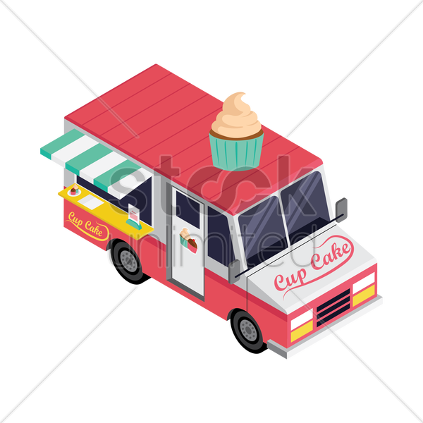 cupcake truck vector graphic
