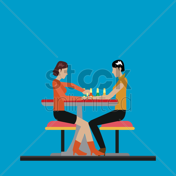 customer getting a manicure treatment vector graphic