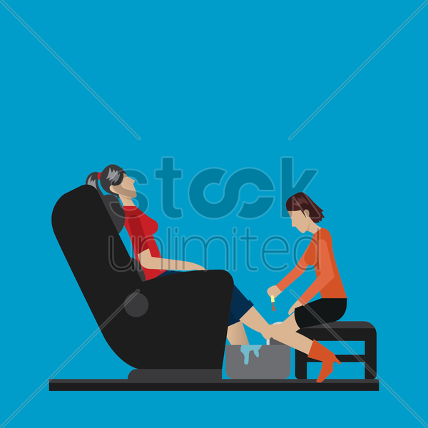 customer getting a pedicure treatment vector graphic