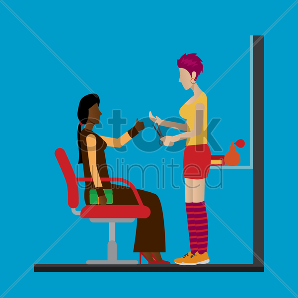 customer getting her hair cut vector graphic