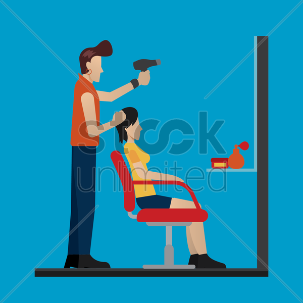 customer getting her hair dry vector graphic