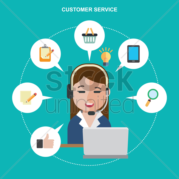 customer service employee vector graphic