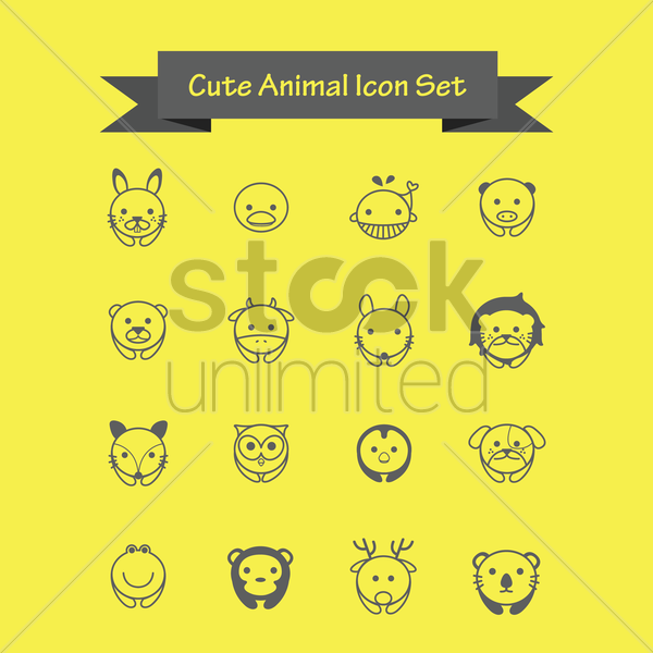 cute animal icons set vector graphic