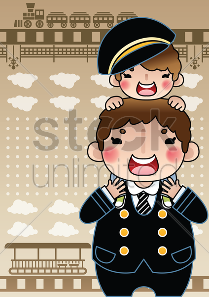 cute boy sitting on stationmaster's shoulder vector graphic