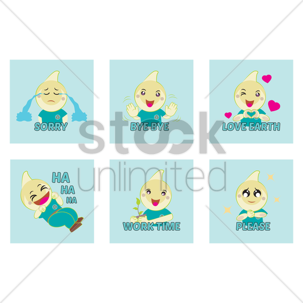cute emoticon expressions vector graphic