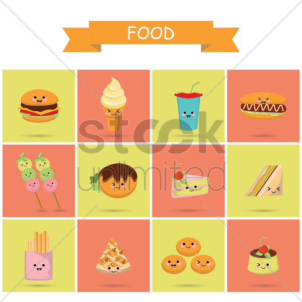 cute food icons vector graphic