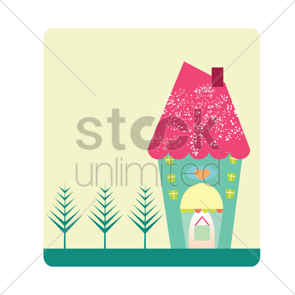 cute house vector graphic
