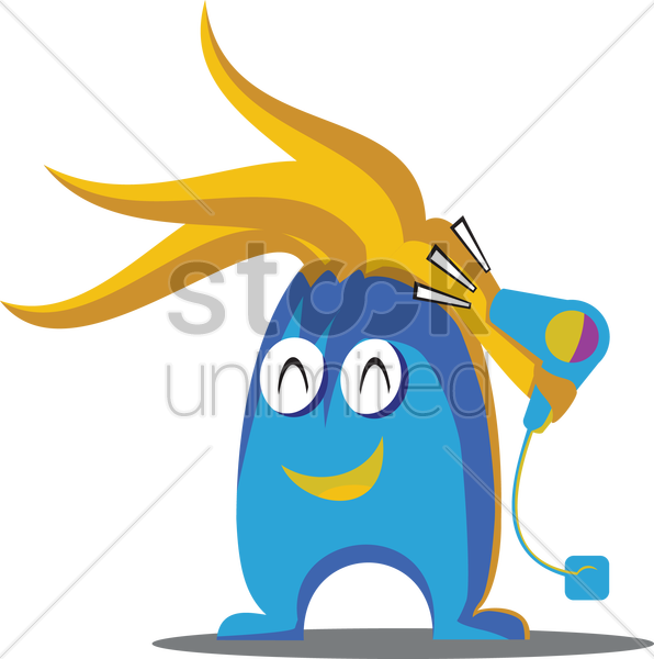 cute monster with hair dryer vector graphic