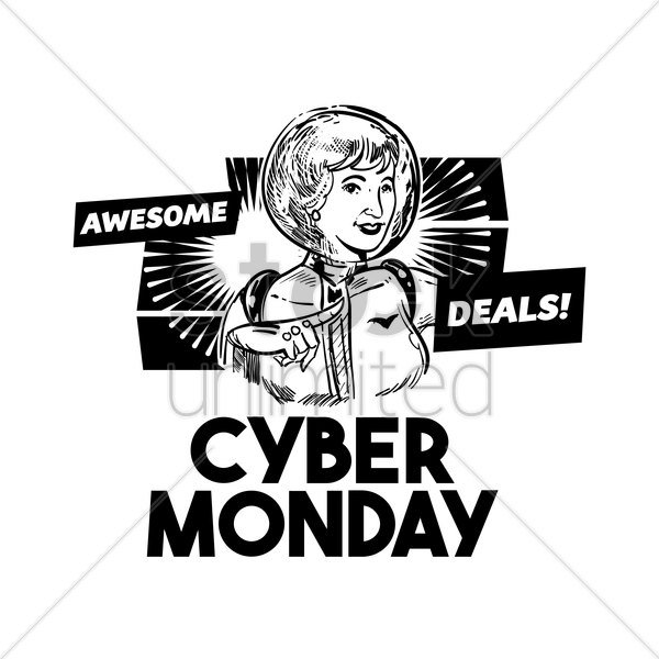 cyber monday awesome deals label vector graphic
