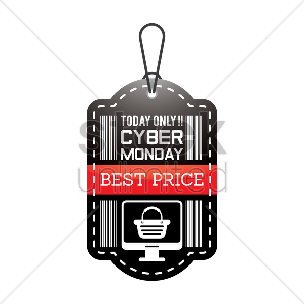 cyber monday best price tag vector graphic