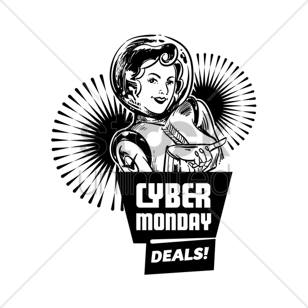 cyber monday deals label vector graphic