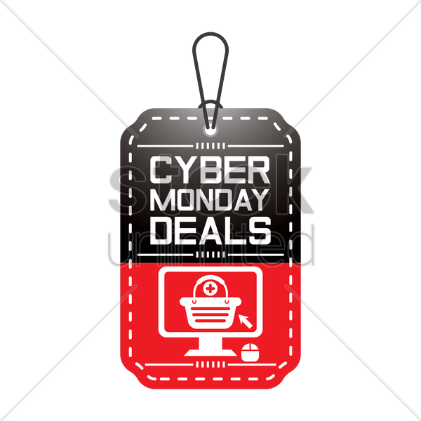 cyber monday deals tag vector graphic