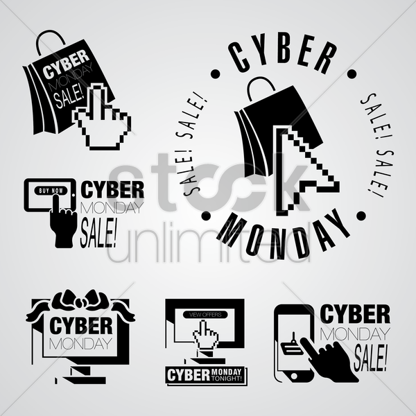cyber monday design element collection vector graphic