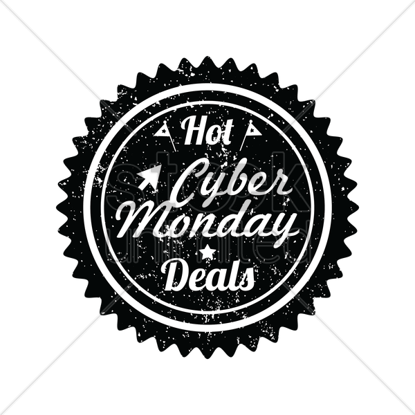 cyber monday hot deals label vector graphic
