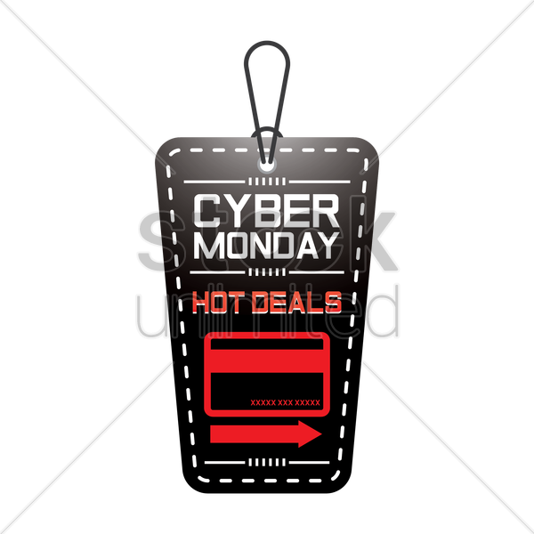 cyber monday hot deals tag vector graphic