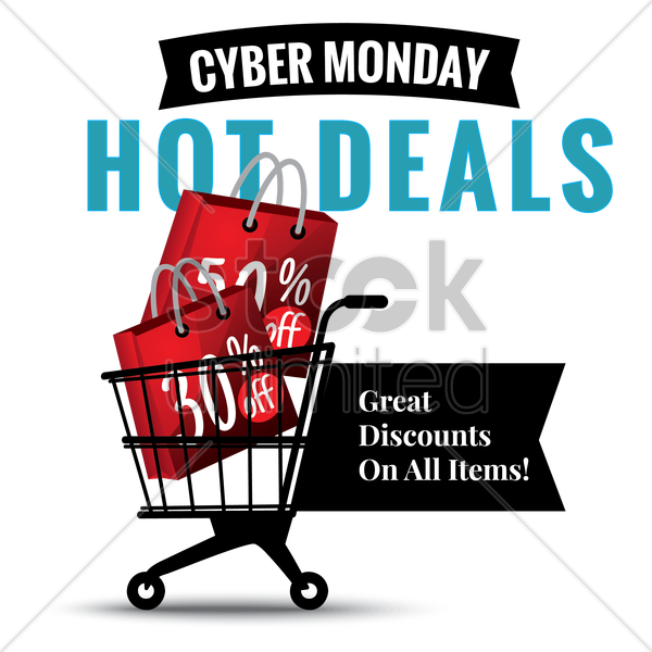 cyber monday hot deals vector graphic