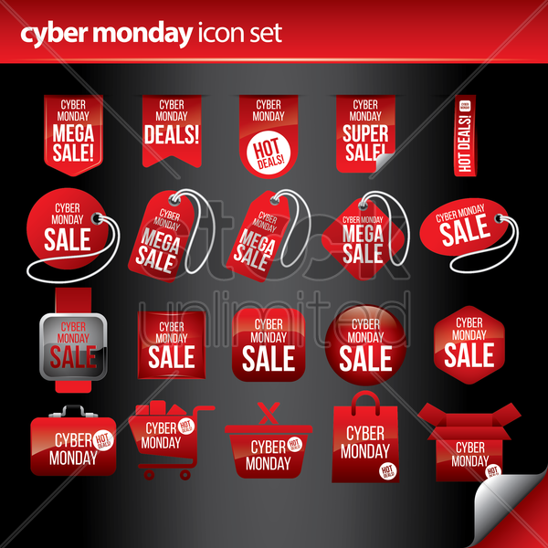 cyber monday icon set vector graphic