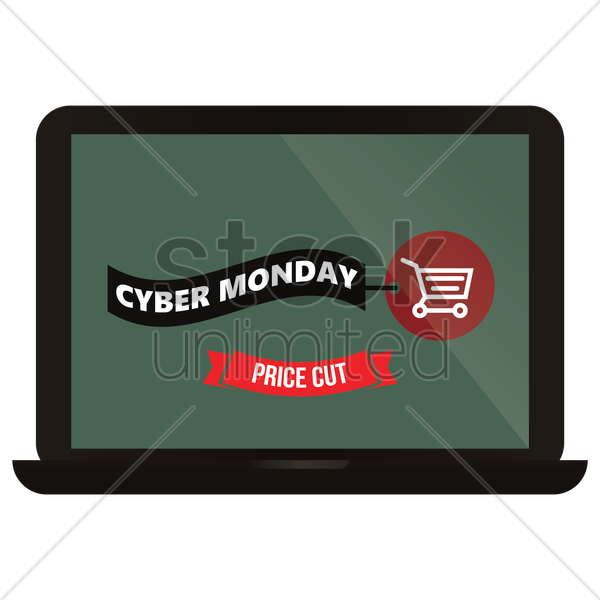 cyber monday laptop vector graphic