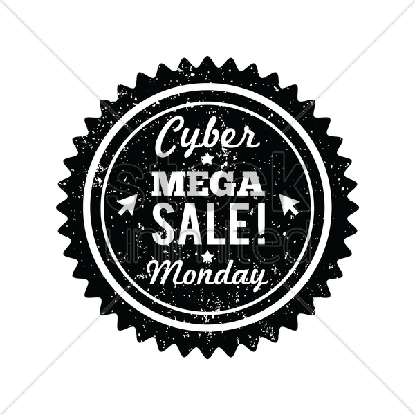 cyber monday mega sale label vector graphic