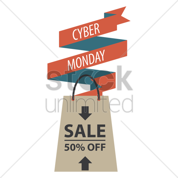 cyber monday sale banner with shopping bag vector graphic