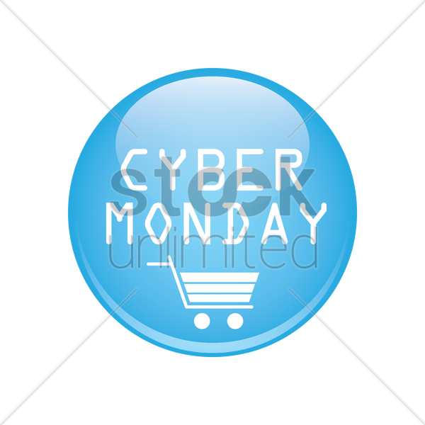 cyber monday sale button vector graphic