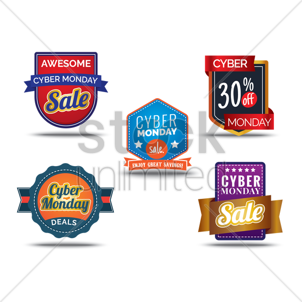 cyber monday sale collection vector graphic