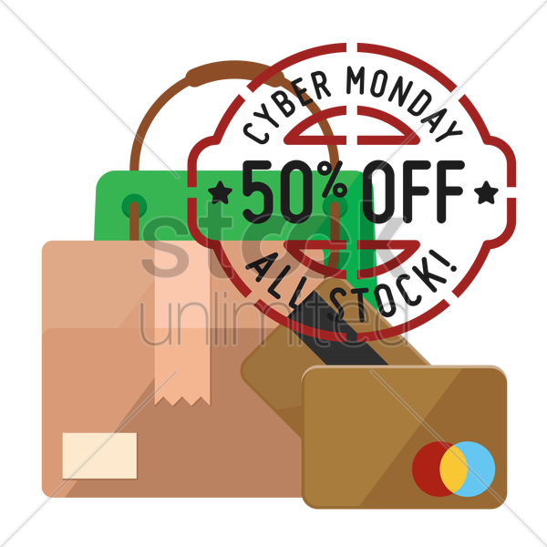 cyber monday sale design and cardboard box with cash cards vector graphic