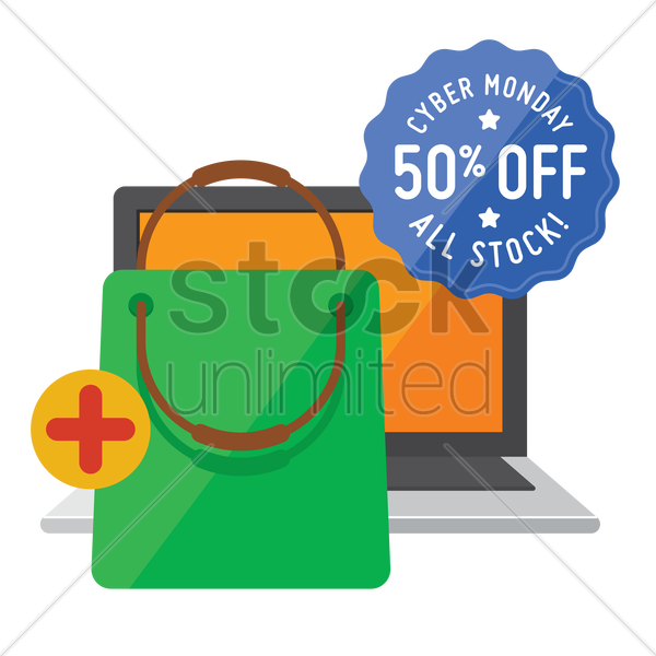 cyber monday sale design and laptop with shopping bag vector graphic