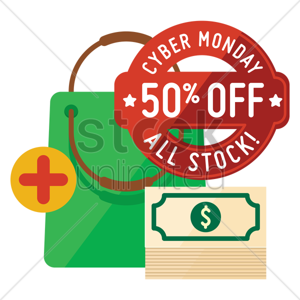cyber monday sale design and shopping bag with dollar notes vector graphic