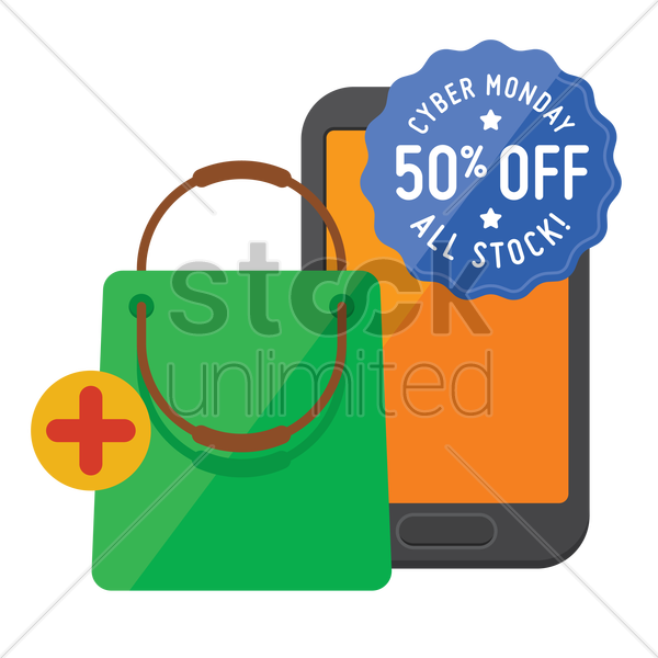 cyber monday sale design and smartphone with shopping bag vector graphic