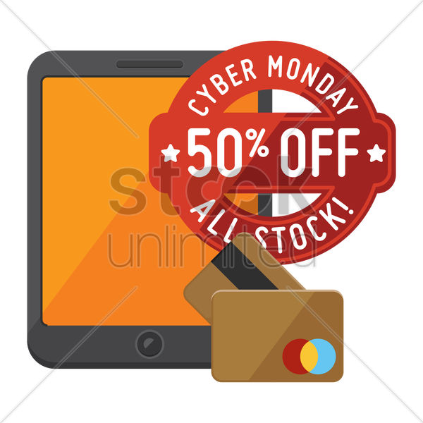 cyber monday sale design and tablet with cash cards vector graphic