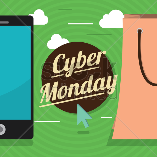 cyber monday sale design vector graphic