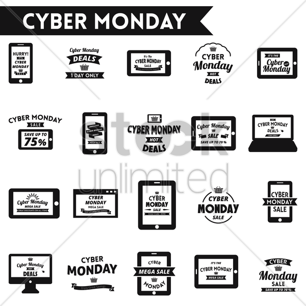 cyber monday sale designs set vector graphic