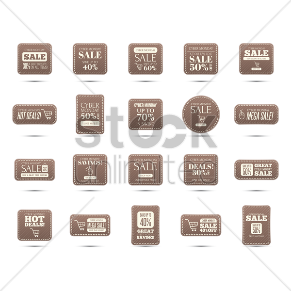 cyber monday sale icons vector graphic