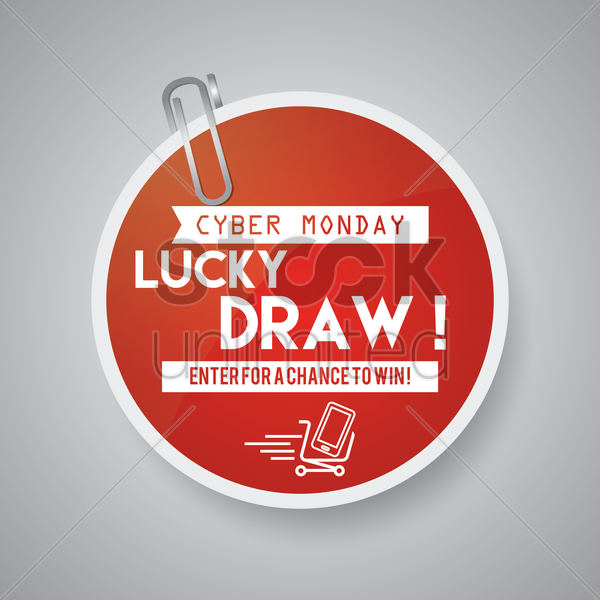 cyber monday sale label with paper-clip vector graphic