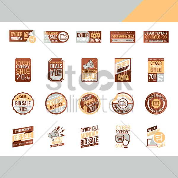 cyber monday sale labels set vector graphic